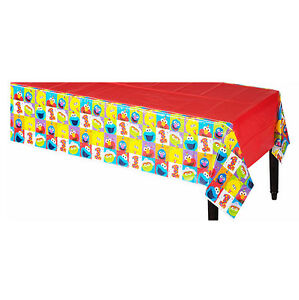 Image Is Loading Elmo First Birthday Table Cover Sesame Street