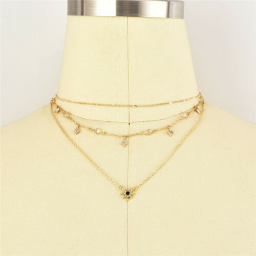 Fashion Women Multilayer Clavicle Necklace Pendant Charm Choker Chain Jewelry