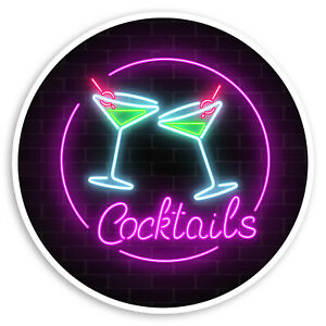 2 x 10cm Neon Cocktails Vinyl Stickers Drinks Bar Party Fun Girls Sticker #30298