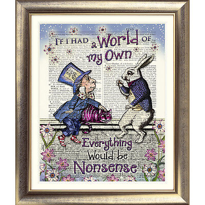 ART PRINT ON ORIGINAL ANTIQUE BOOK PAGE Vintage Alice in Wonderland Mad Hatter