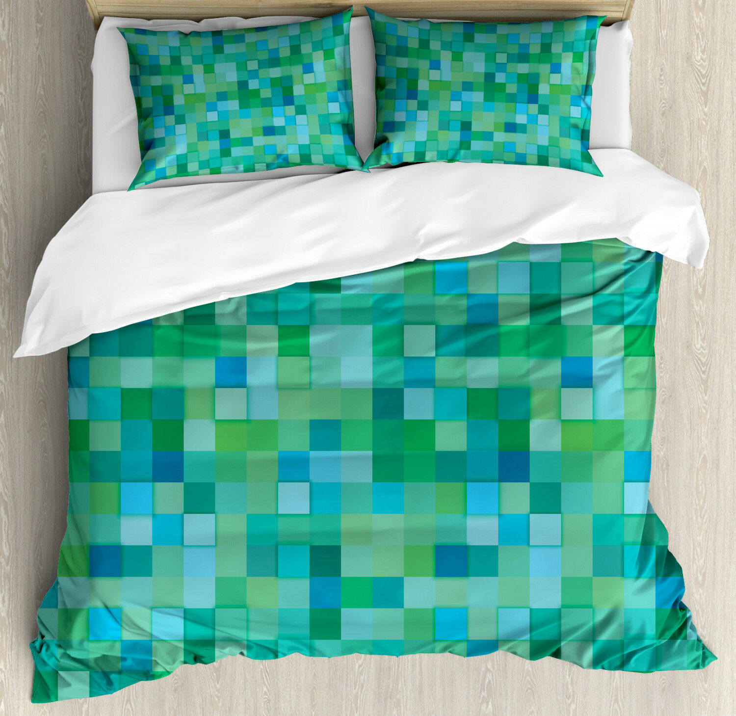 Teal Duvet Cover Set with Pillow Shams Cube Pattern Vibrant color Print