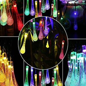 20-LED-Solar-Powered-Raindrop-String-Lights-Teardrop-Lamp-Xmas-Decor-Supplies