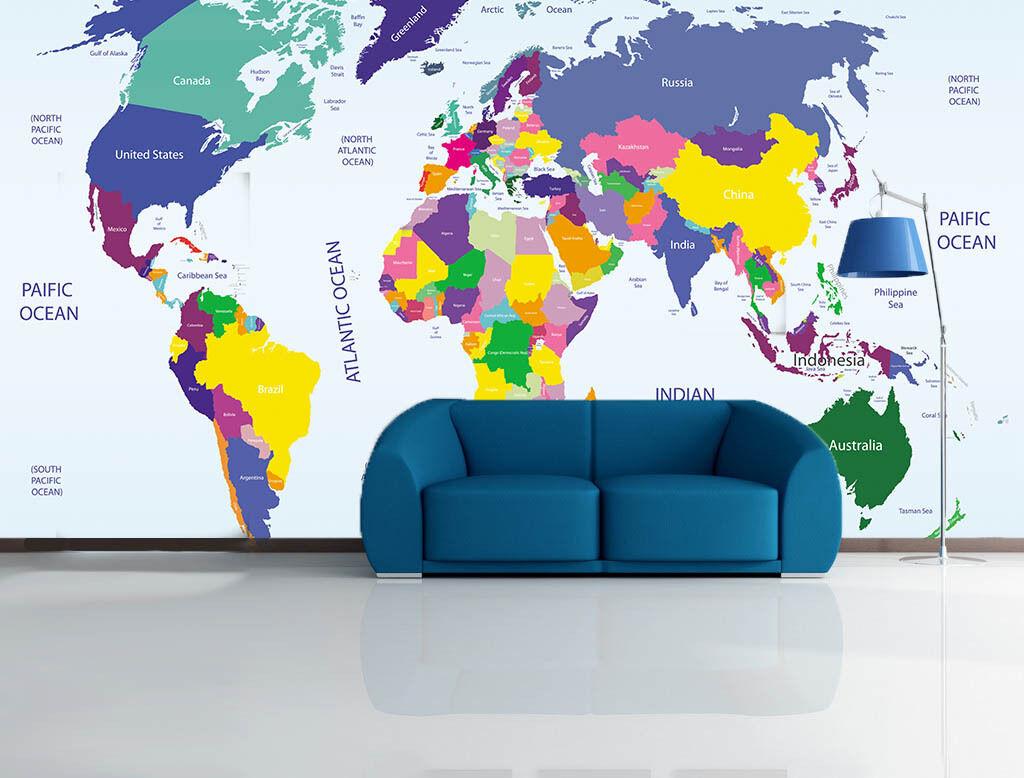 3D Farbige karte 0293 Fototapeten Wandbild Fototapete BildTapete Familie DE
