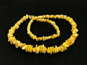 Vintage-Old-Natural-BALTIC-AMBER-NECKLACE-Yellow-Egg-Yolk-Honey-Beads-37g-12628