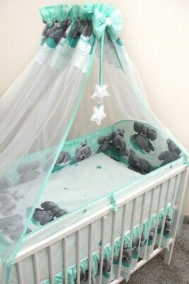 UnermüDlich Bettset Baby 8-9 Tlg Bettwäsche Nestchen Himmelstange Bett 120x60 Funny Bear
