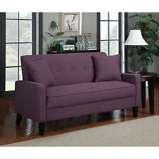 New Purple Linen Sofa Amethyst Plum Fabric Upholstered Couch - FREE SHIPPING
