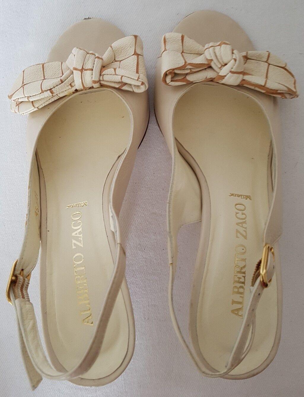Alberto Zago Milano Ladies Ivory/ Cream Leather Sandals Shoe UK 4 EU 37