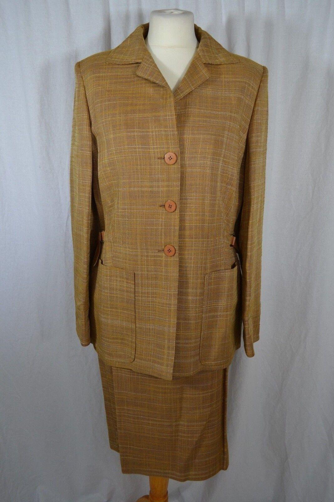Margon Gelb moutarde Jupe Costume Größe 46 (UK 14) veste + jupe laine soie mélangée