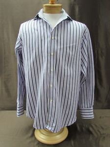 Thomas-Dean-M-medium-shirt-Long-Sleeve-dress-purple-blk-wht-button-front-striped