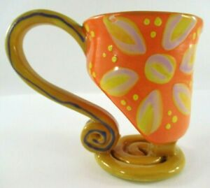 Unique-WASSI-ART-Jamaica-Pottery-Cup-Designed-amp-Signed-by-Artist-Marlon-McLean
