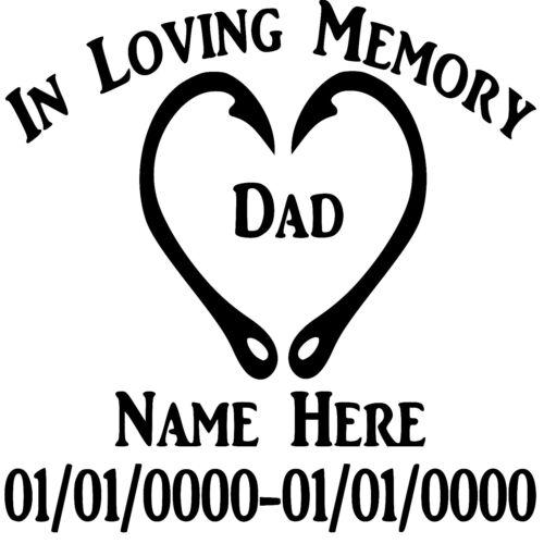 In Loving Memory Fish Hooks Heart Custom Vinyl Decal Sticker Car Truck Window