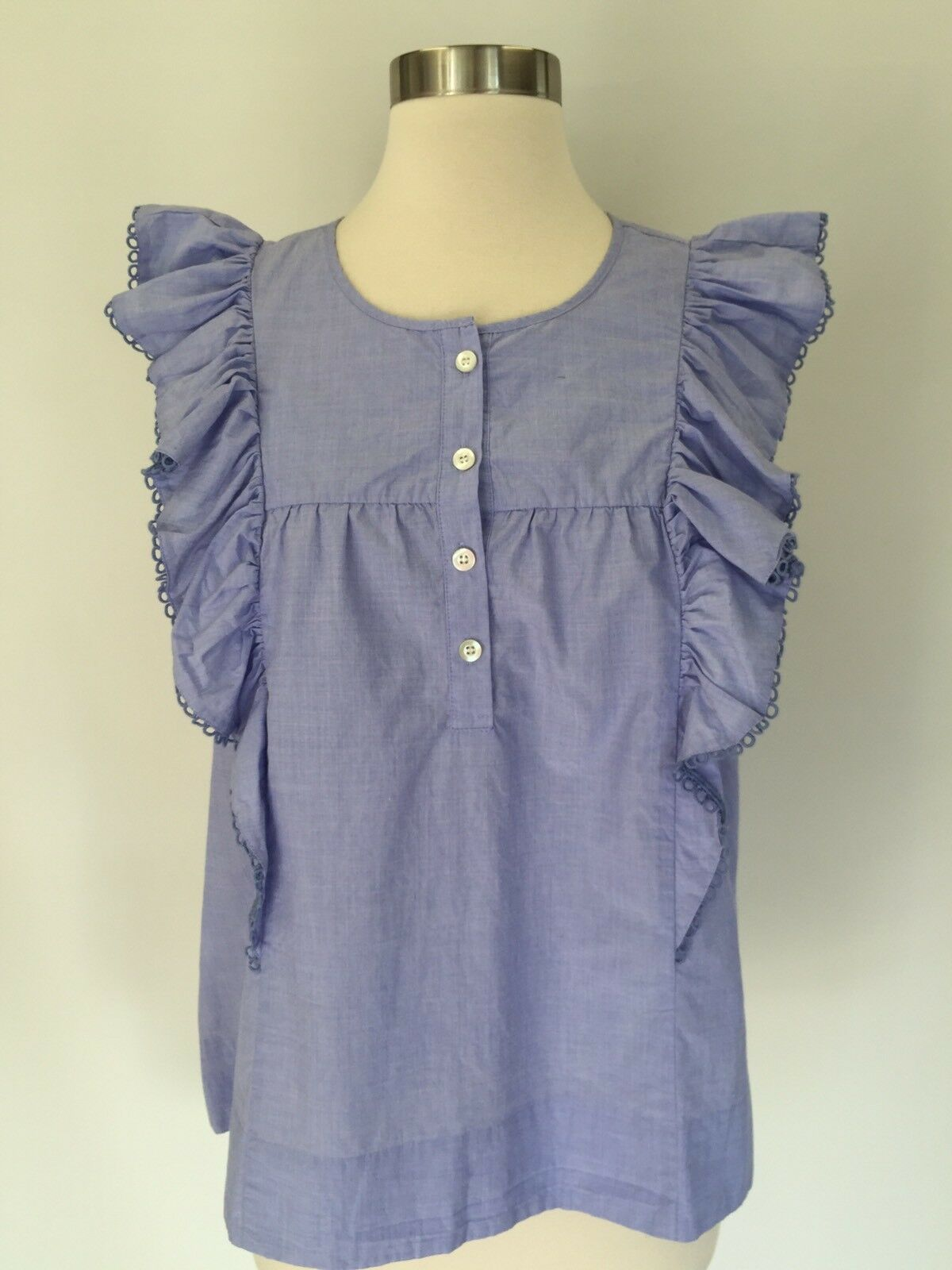 New JCREW Ruffle-front Shirt In End-on-end Cotton Top Blouse 14 Peri Blau G9206