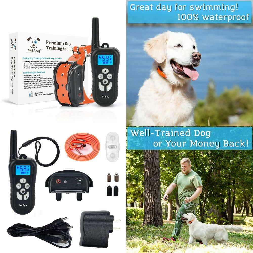 PetSpy Remote Dog Training Shock Collar for Dogs with Beep, Vibration and...