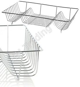 Large-Chrome-Wire-Dish-Holder-Sink-Plate-Cup-Cutlery-Rack-Drying-Stand-Drainer