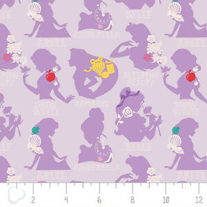 Disney-Princess-Cameo-in-Purple-Lavender-Camelot-100-cotton-Fabric-by-the-yard