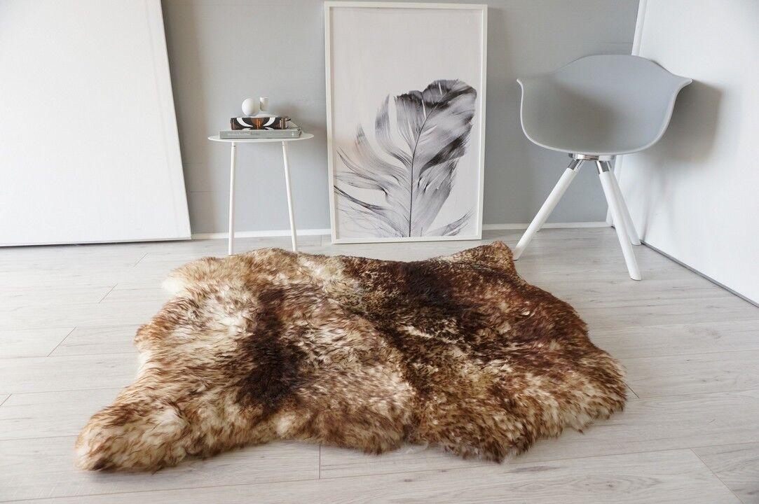 Genuine Double Side by Side Sheepskin Rug Soft Wool Weiß braun tipped SBN 31
