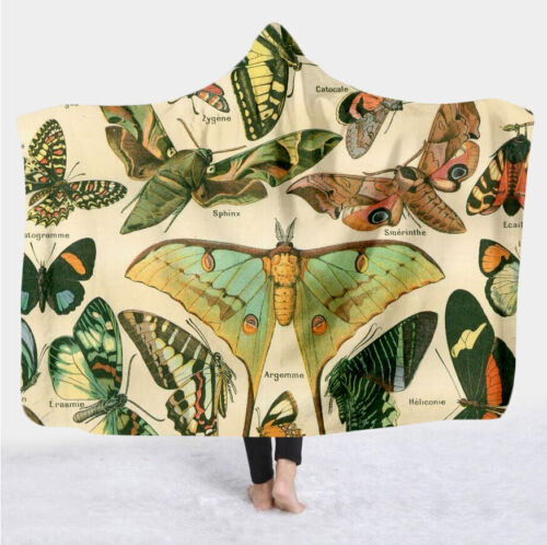 Colorful butterfly Print Hooded Blanket Fleece Blankets And Throws Blankets K41