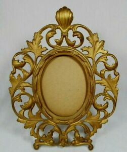 Antique-Art-Nouveau-Brass-Ornate-Baroque-Gold-Oval-Picture-Frame-Easel-Stand-10-034