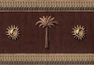 Classic-Sun-Medallion-amp-Palm-Tree-Dark-Leather-Looking-Textured-Wallpaper-Border
