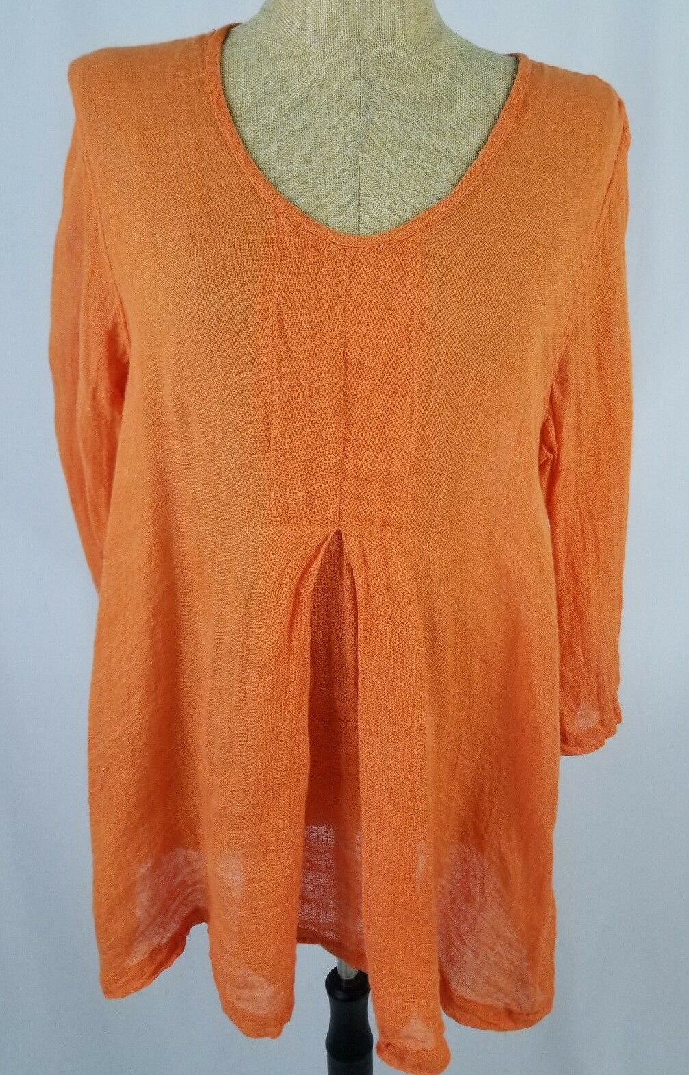 Flax 100% Linen Orange Größe Medium 3 4 Sleeve Tunic Woherren