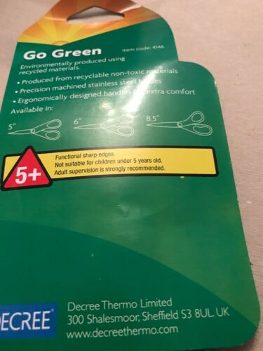 """2 Pairs Of Go Green Environmentally Friendly Scissors 5"""" A Recycled Material"""