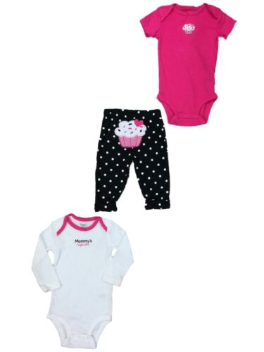 Infant Girls Hot Pink Body Suit Polka Dot Cupcake Outfit 3 Pc Outfit 6m