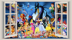 Huge 3d Window Wall Art Sticker Disney Characters Decal Vinyl