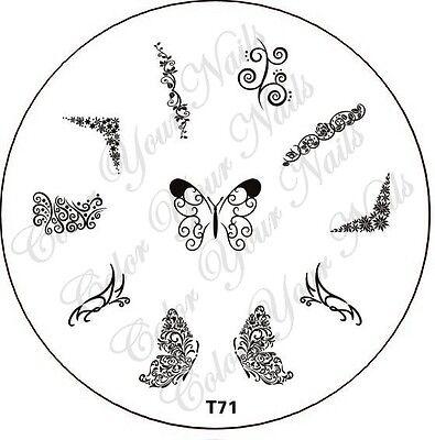 Stamping Schablone  T71, Schmetterlinge, Schmetterlingsflügel, eckiges French