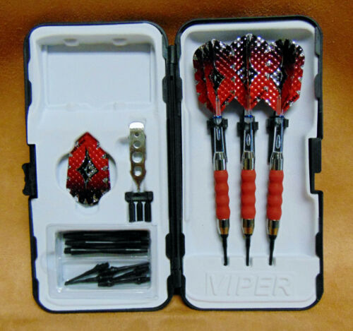 GLD Viper Red Sure Grip 18 gm darts w// Clear Supergrip shafts and Dimple Flights