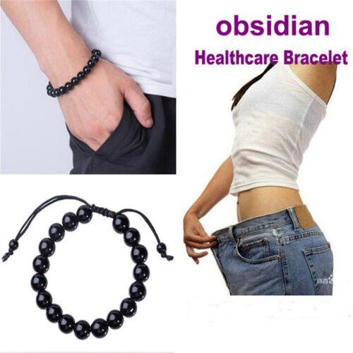 Chic Round Obsidian Stone Healthcare Bracelet Healthcare Weight Loss Bracelet VT