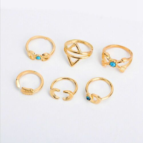 6Pcs Vintage Retro Exaggerated Personality Rings Set Geometry Turquoise Moon