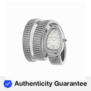 Bulgari Serpenti Tubogas Steel Quartz 35mm Diamond Bracelet Ladies Watch 101910