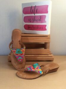 Z-amp-L-Anthropology-Aztec-Stitched-MultiColored-Thong-Leather-Sandals-Euro-38