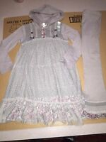 Naartjie Lace Overlay Hooded Dress & Pointelle Tulle Pants Set Size 7