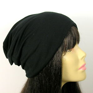 Black-Cotton-Jersey-Beanie-Dome-Slouchy-Beanie-Hipster-Beanies-Mens-Slouch-Hats
