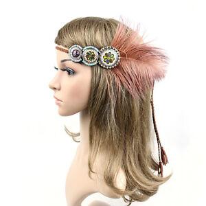 e4bea0e765b6f Details about Fascinator Bohemian Headband Tribal Style Hairband Flapper  Feather Headdress