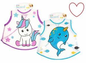 b7e2f73a Toddler Girls Boys Wipe Clean Bib Messy Mealtime Unicorn Whale | eBay