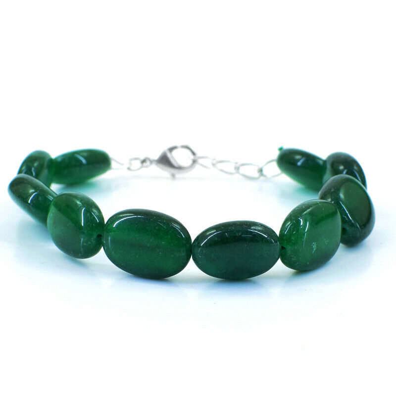 Oval Shape 160.00 Cts Earth Mined 7 Inches Long Emerald Beads Bracelet NK 37E47