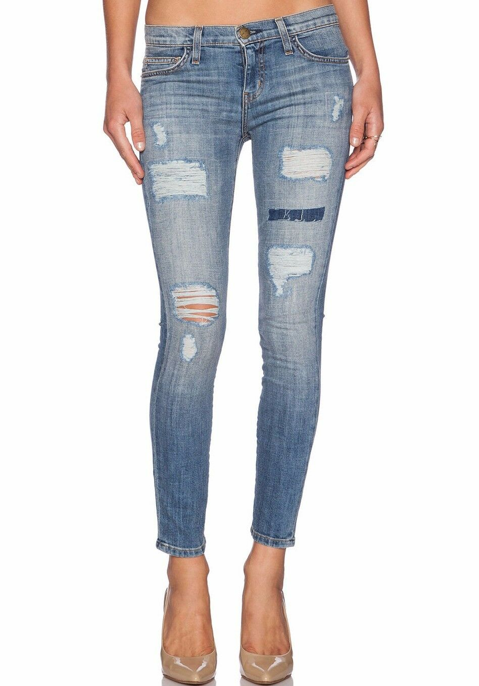 288 NWT CURRENT ELLIOTT Sz27 THE STILETTO CROP SKINNY STRETCH-JEANS VIN NY REPA
