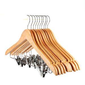 43CM-Wood-coat-Hanger-With-Clips-Beech-White-Walnut-Black-25-50