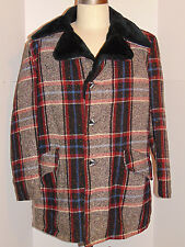 UNUSED MEN'S 1950s-60s FLECK PLAID JACKET! PILE LINING! BUTTON FRONT! NEW! 40