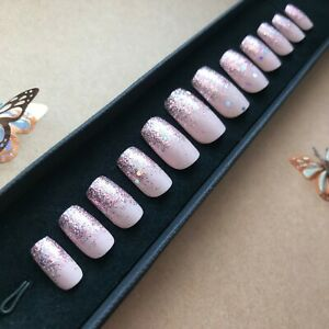 Hand-Painted-False-Nails-Square-or-ANY-Pink-Glitter-Party-Pink-Ombre-Sparkle
