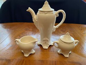 Vintage Holland Mold 3 Pc Set Tea Pot With Creamer And Sugar Bowl With Lid