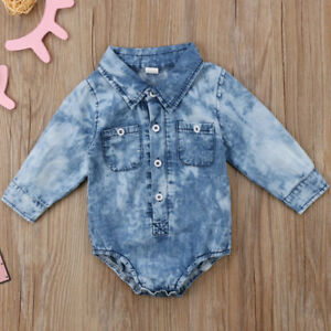 a6515a35b8f5 US Newborn Toddler Baby Boy Girl Denim Romper Jumpsuit Bodysuit ...