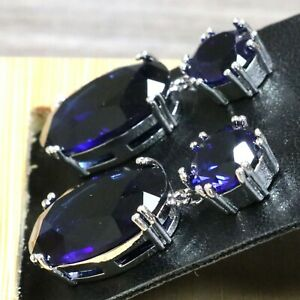Sparkling-Blue-Sapphire-Earrings-Engagement-Jewelry-14K-White-Gold-Plated-Gift