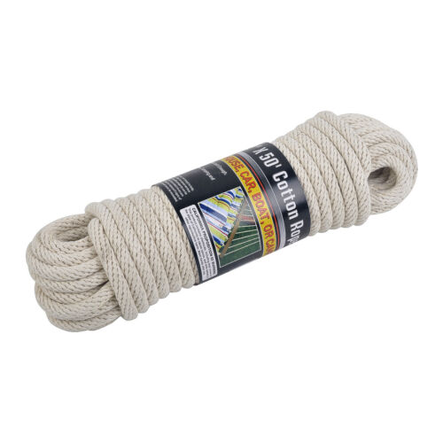 """3//8/"""" Thick 110 lbs Load Boat Camping NEW 50/' ft Solid Braided COTTON ROPE"""