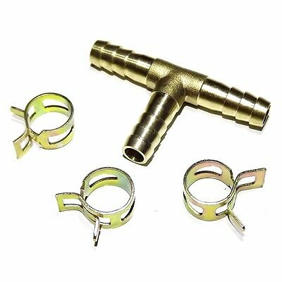 """Brass fuel hose tee 3 way pipe for carburetor fitting 8mm 5/16"""" + clips"""