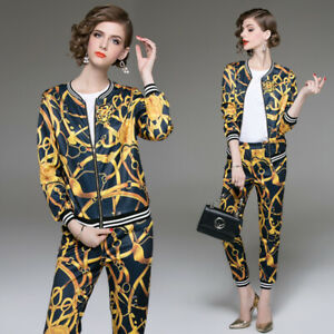 2019-Spring-Summer-Women-Set-Vintage-Print-Swearshirt-Top-Coat-Jacket-Pant-Suits