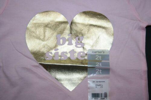 New Carter/'s Girls Pink Metallic Gold Heart Big Sister Tee Top 2T 3T 5T 6x 7 yr