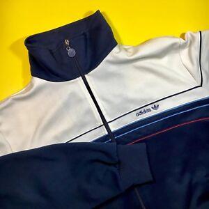 Vintage Adidas Jacket Sz L 80s hip hop Run DMC Blue shiny